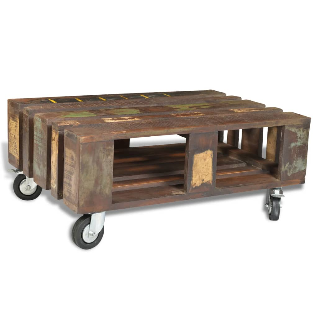 Superb img of vidaXL.co.uk Antique style Reclaimed Wood Coffee Table with 4 Wheels with #9E772D color and 1024x1024 pixels