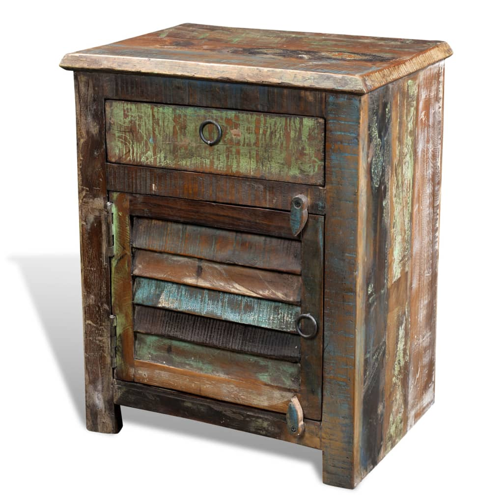 Reclaimed wood cabinet multicolor end table drawer