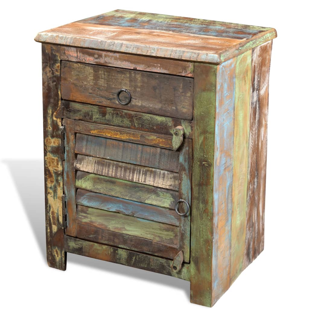 Reclaimed wood cabinet multicolour end table 1 drawer 1 for Vintage nachttische