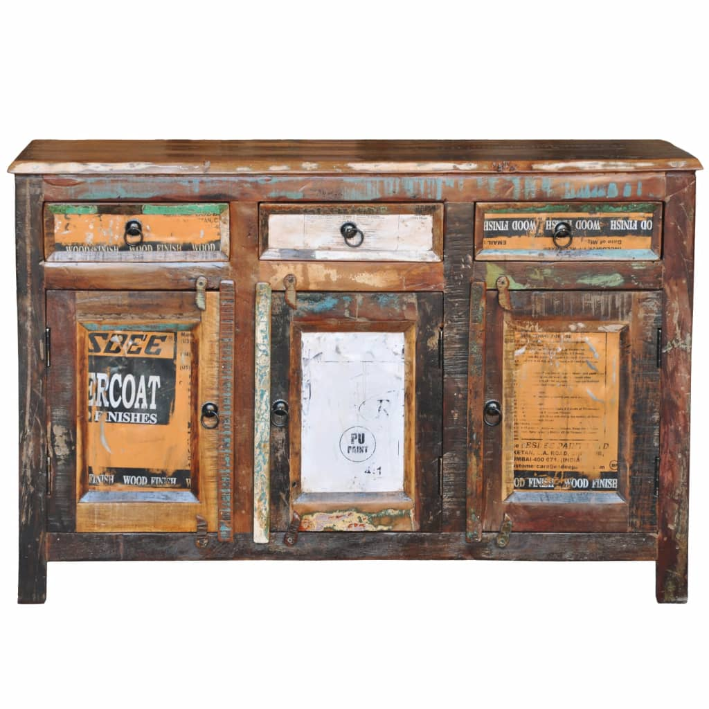 antik vintage massivholz kommode sideboard schrank 3 t ren g nstig kaufen. Black Bedroom Furniture Sets. Home Design Ideas