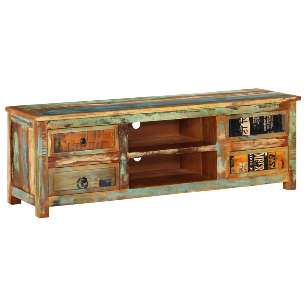 Wooden Tv Cabinet ~ Reclaimed wood tv cabinet stand drawers vidaxl
