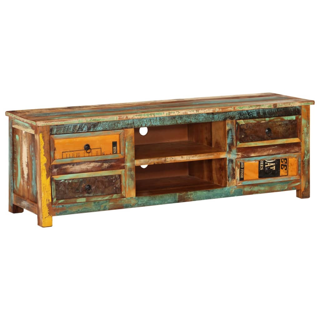 Reclaimed wood tv cabinet tv stand 4 drawers for Miroir antique en bois