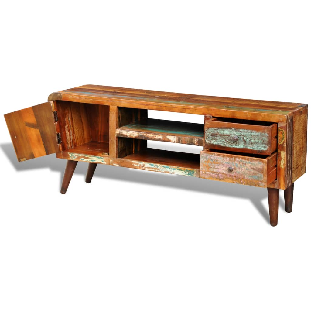 Design antik teak tv tisch lowboard sideboard 2 schubladen for Tisch teak design
