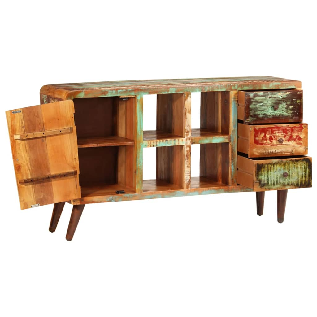 antik teak schrank rack lowboard sideboard 3 schubladen. Black Bedroom Furniture Sets. Home Design Ideas