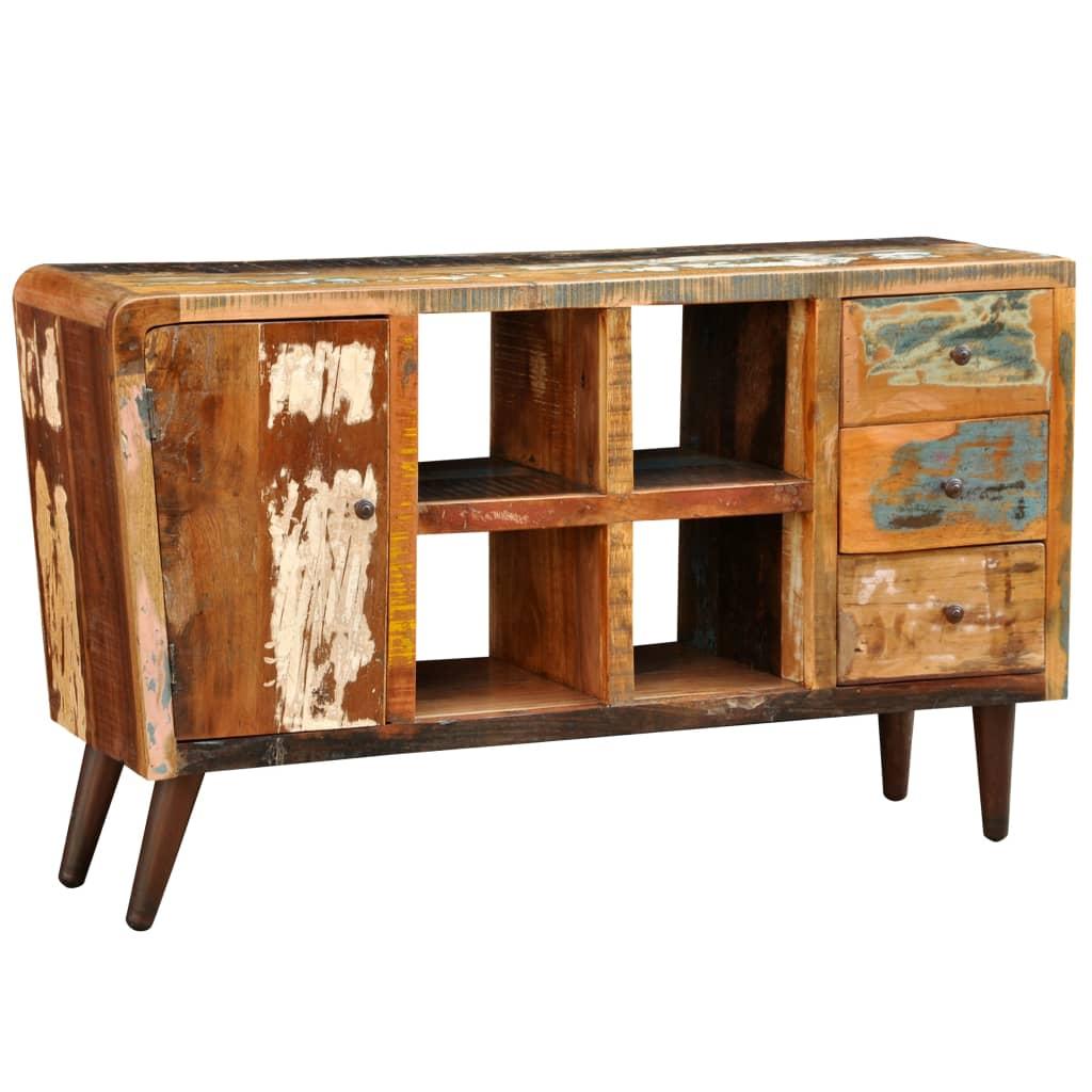 TV-bänk antik stil 1 dörr 3 lådor 4 hyllor