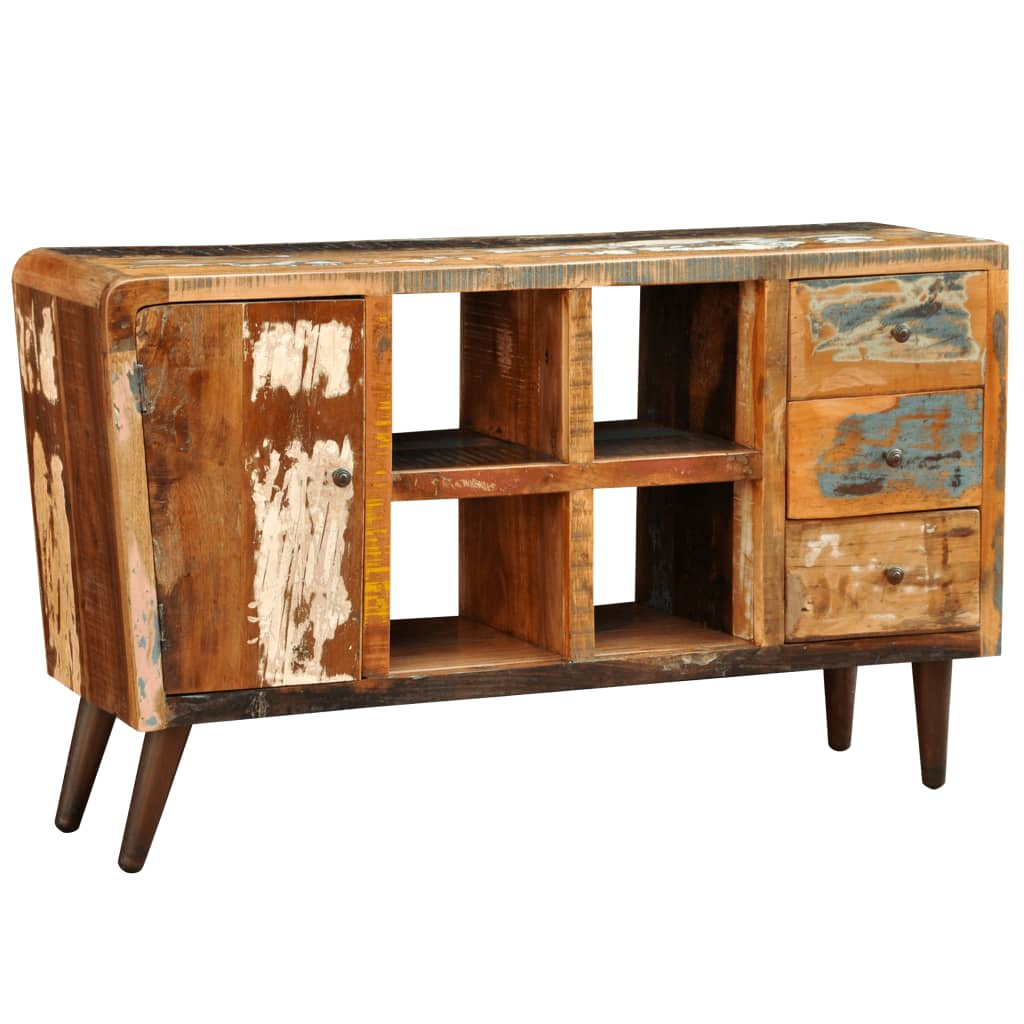 Wonderful image of vidaXL.co.uk Reclaimed Wood Cabinet 1 Door 4 Shelves 3 Drawers with #BE870D color and 1024x1024 pixels