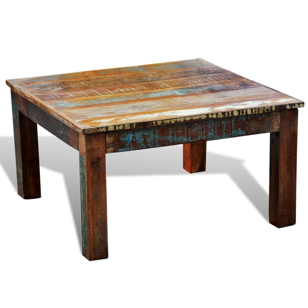 Reclaimed wood coffee table square antique style vidaxlcom for Reclaimed teak wood coffee table
