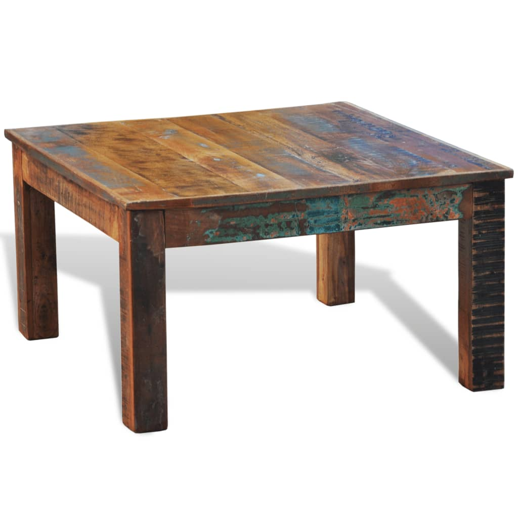 Reclaimed wood coffee table square antique style vidaxlcom for Coffee table wood