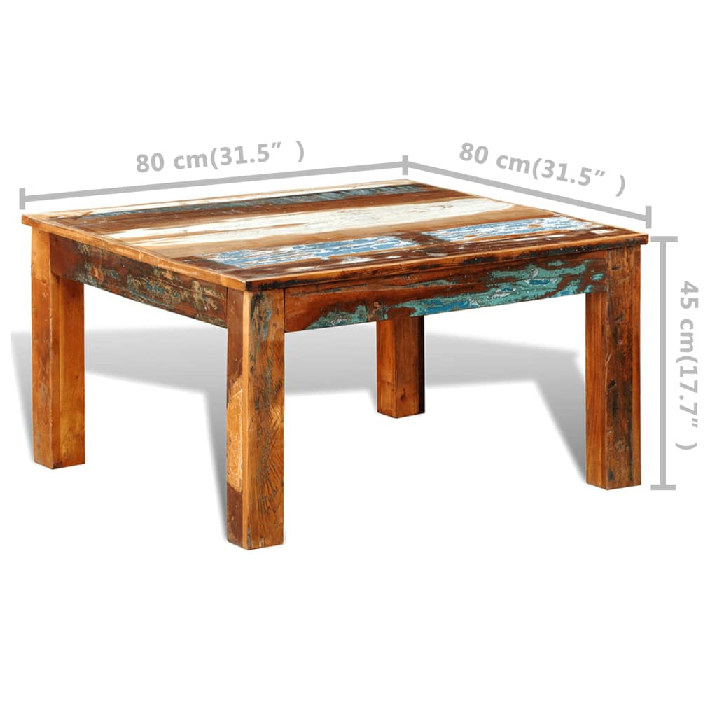 Reclaimed wood coffee table square antique style vidaxl Vogue coffee table