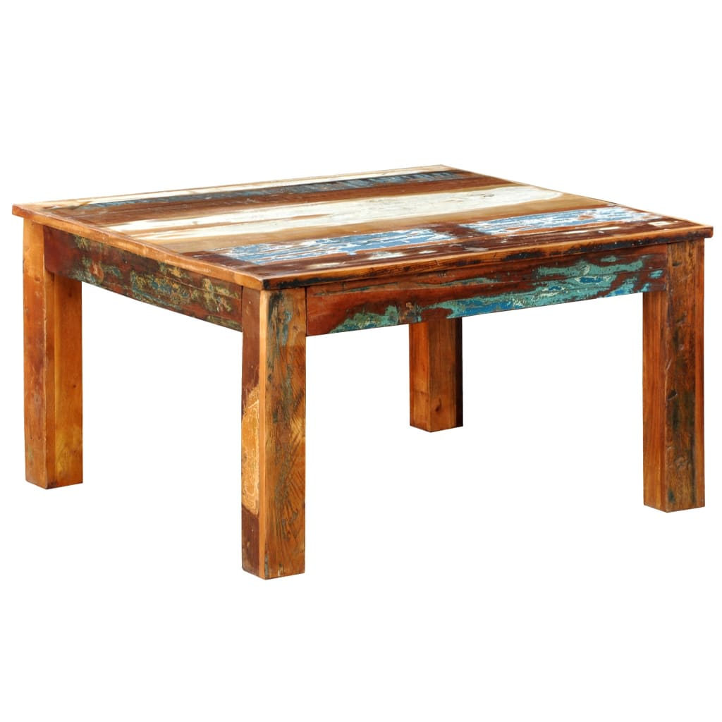 Reclaimed Wood Coffee Table Square Antique Style