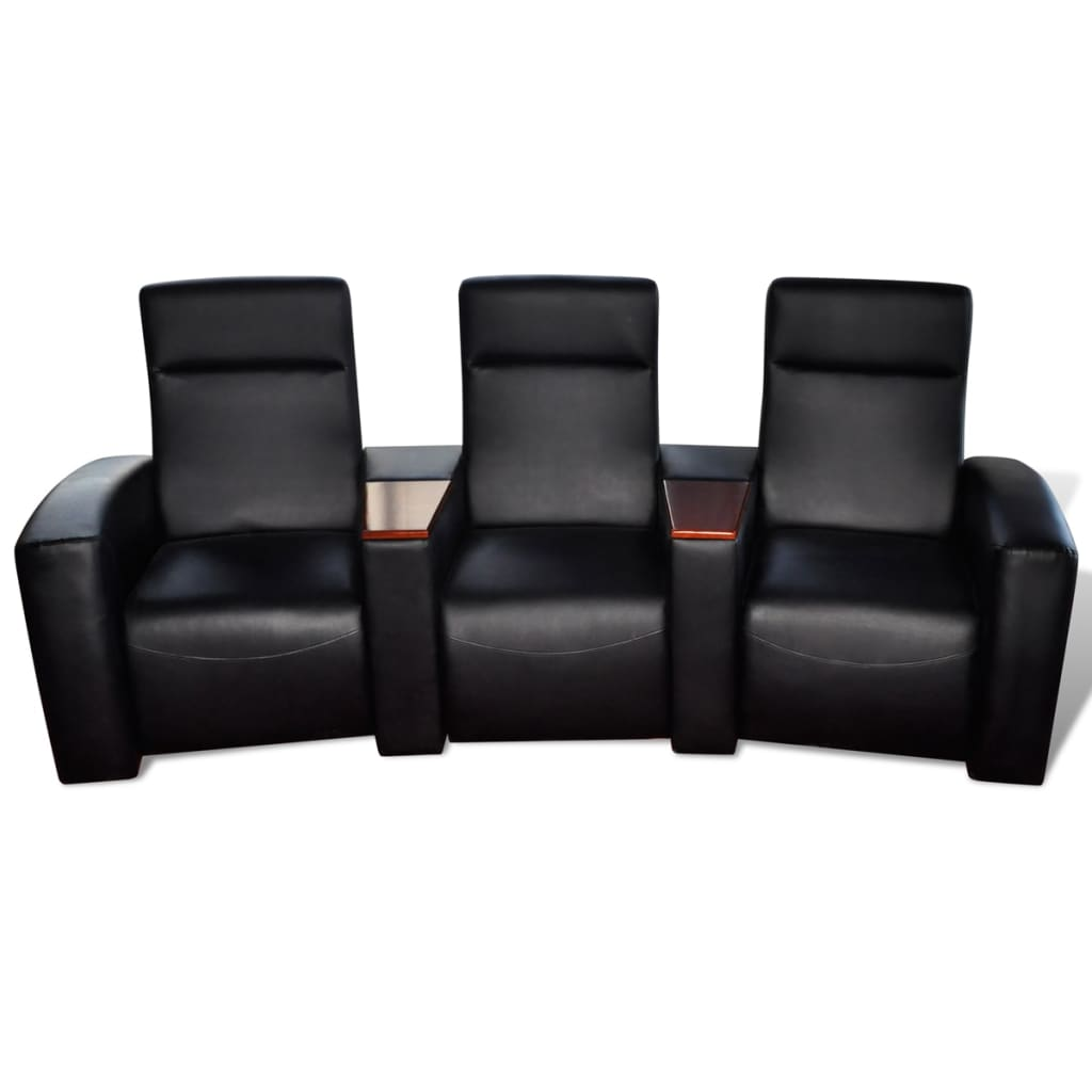 der luxus ledermix sofa sessel 3 sitzer mit holzstaufach schwarz online shop. Black Bedroom Furniture Sets. Home Design Ideas