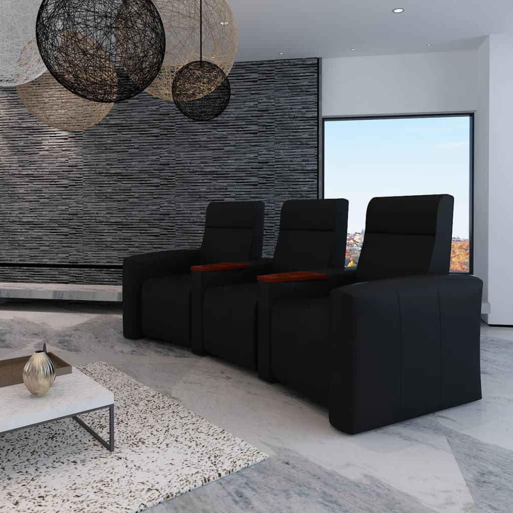 articoli per luxury home cinema divano reclinabile 3 posti scomparti in legno nero. Black Bedroom Furniture Sets. Home Design Ideas