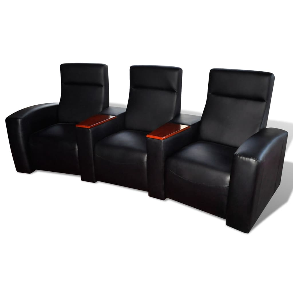 luxus ledermix sofa sessel 3 sitzer mit holzstaufach schwarz. Black Bedroom Furniture Sets. Home Design Ideas