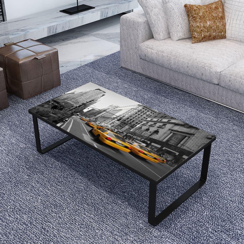 vidaXL Rektangulært sofabord, sidebord, sofabord med tryk på glas