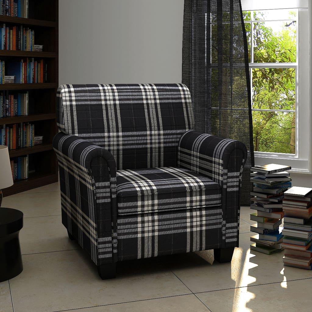 vidaXL Szövetes Fotel Fekete Ülő Párnával