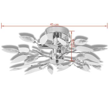Ceiling Lamp White & Transparent Acrylic Crystal Leaf Arms 3 E14 Bulbs[4/5]