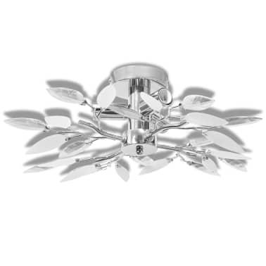 Ceiling Lamp White & Transparent Acrylic Crystal Leaf Arms 3 E14 Bulbs[2/5]