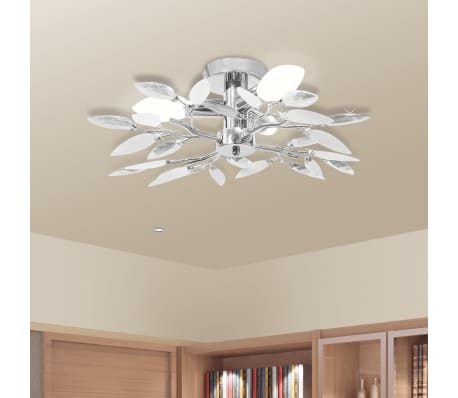 Ceiling Lamp White & Transparent Acrylic Crystal Leaf Arms 3 E14 Bulbs