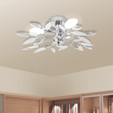 Ceiling Lamp White & Transparent Acrylic Crystal Leaf Arms 3 E14 Bulbs[1/6]