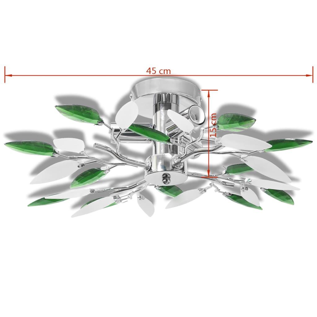 vidaXL-Lampara-de-Techo-Original-Forma-de-Hojas-Blanco-y-Verde-Casquillo-E14