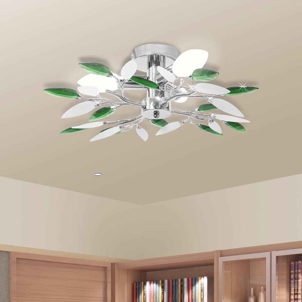 vidaXL Mennyezeti Lámpa Fehér & Zöld Akril Kristály Tartó 3 E14 Izzók