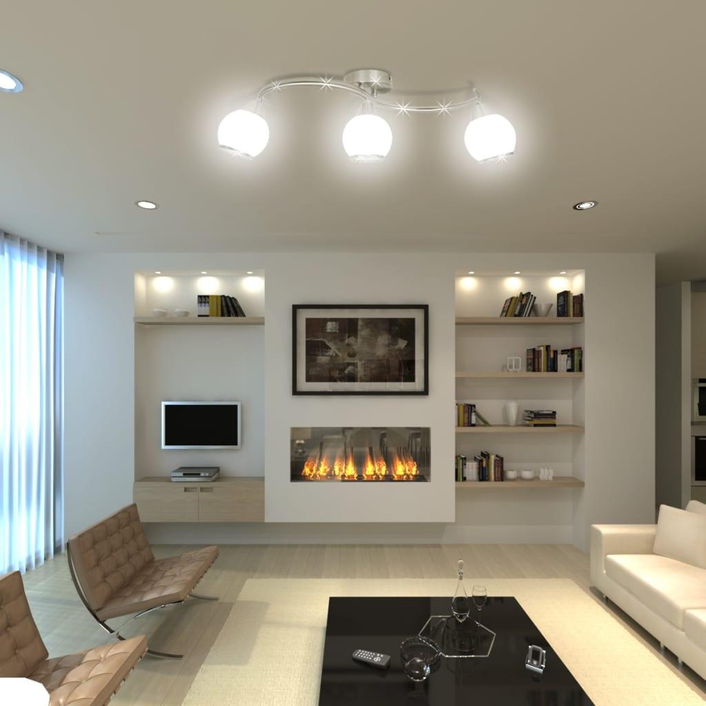 vidaXL-Lampada-da-Soffitto-Diffusori-Vetro-a-Onde-3-Lampadine-E14-Lampadario
