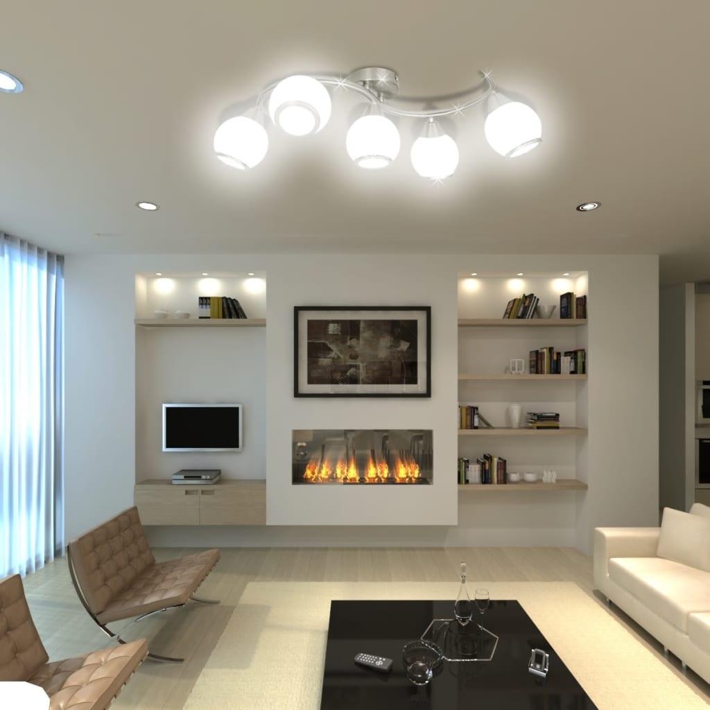 acheter plafonnier avec abat jour en verre 5 ampoules e14 pas cher. Black Bedroom Furniture Sets. Home Design Ideas