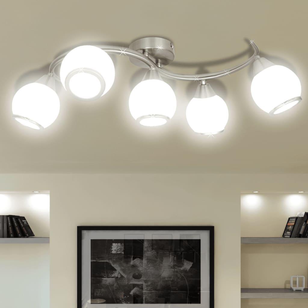 vidaXL Mennyezeti Lámpa Üveg Árnyalat Hullámzó Sín 5 E14 Izzók