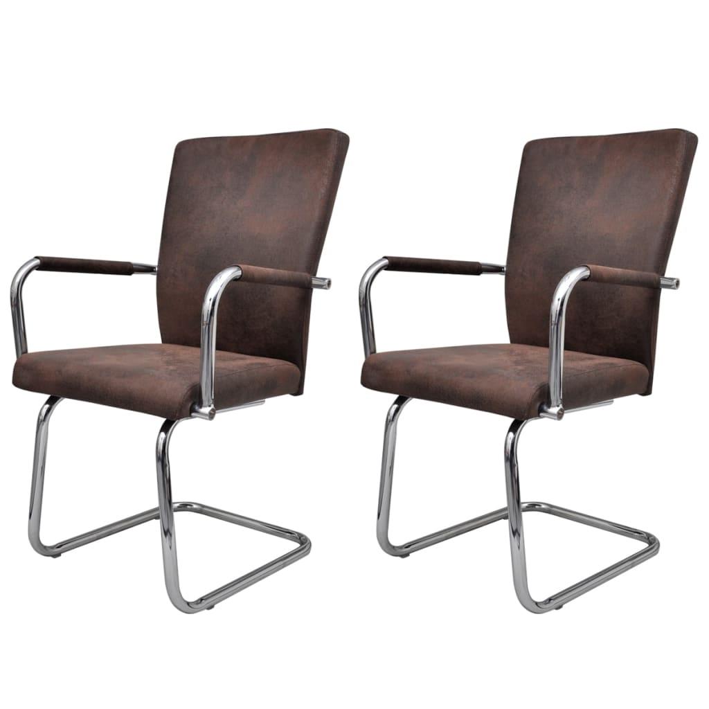 vidaXL Krzesła do jadalni ze sztucznej skóry, 2 szt., brązowe