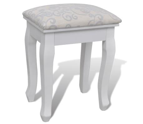 Toaletný stolík so zrkadlom a taburetkou, 7 zásuviek, biely, XXL[7/10]
