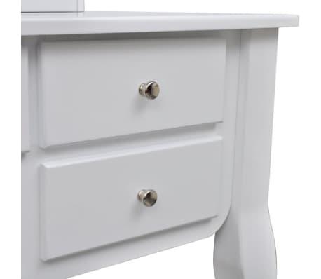 Toaletný stolík so zrkadlom a taburetkou, 7 zásuviek, biely, XXL[8/10]
