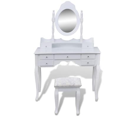 Toaletný stolík so zrkadlom a taburetkou, 7 zásuviek, biely, XXL[2/10]