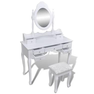 Toaletný stolík so zrkadlom a taburetkou, 7 zásuviek, biely, XXL[3/10]