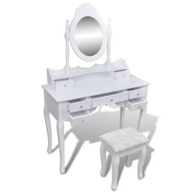Toaletný stolík so zrkadlom a taburetkou, 7 zásuviek, biely, XXL[4/10]