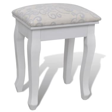 Kozmetična mizica z ogledalom in stolčkom s 7-mi predali, Bela XXL[7/10]