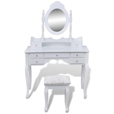Kozmetična mizica z ogledalom in stolčkom s 7-mi predali, Bela XXL[2/10]