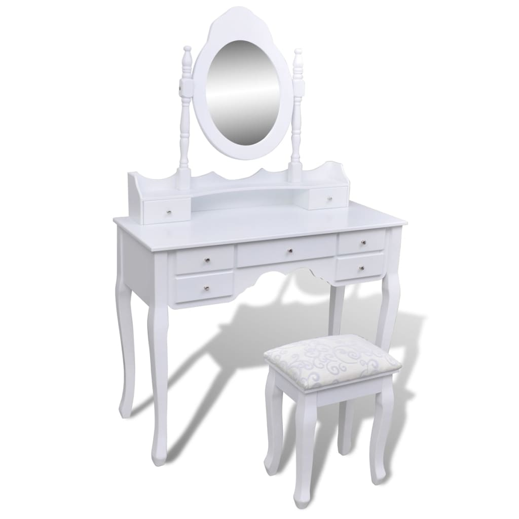 la boutique en ligne coiffeuse blanche 7 tiroirs avec 1 miroir et 1 tabouret. Black Bedroom Furniture Sets. Home Design Ideas