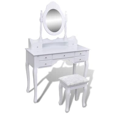 Toaletný stolík so zrkadlom a taburetkou, 7 zásuviek, biely, XXL[1/10]