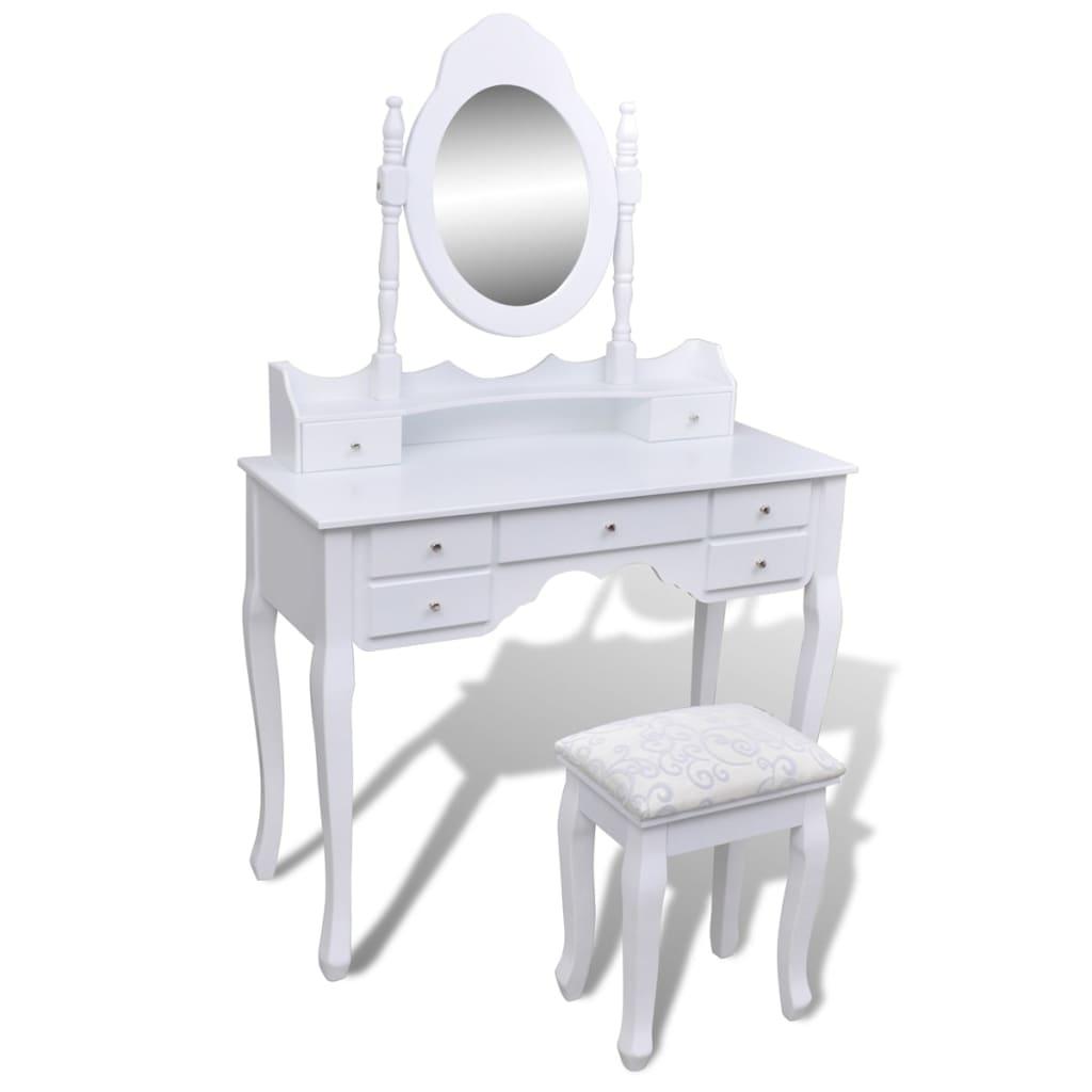 vidaXL Fésülködő asztal Tükörrel és Székel 7 Fiókkal Fehér XXL