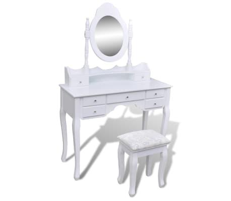 Toaletný stolík so zrkadlom a taburetkou, 7 zásuviek, biely, XXL