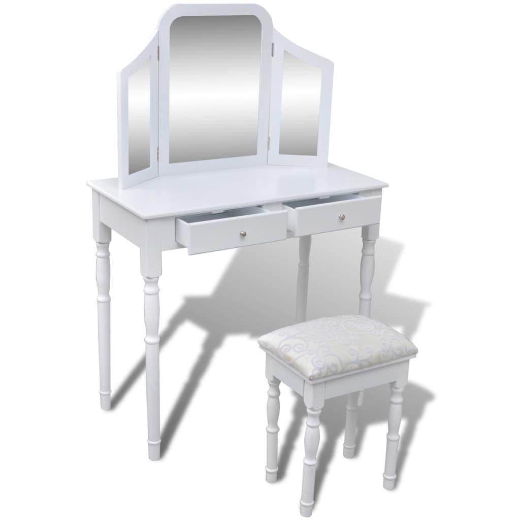 articoli per toeletta spogliatoio con specchio e sgabello 3 in 1 2 cassetti bianco. Black Bedroom Furniture Sets. Home Design Ideas