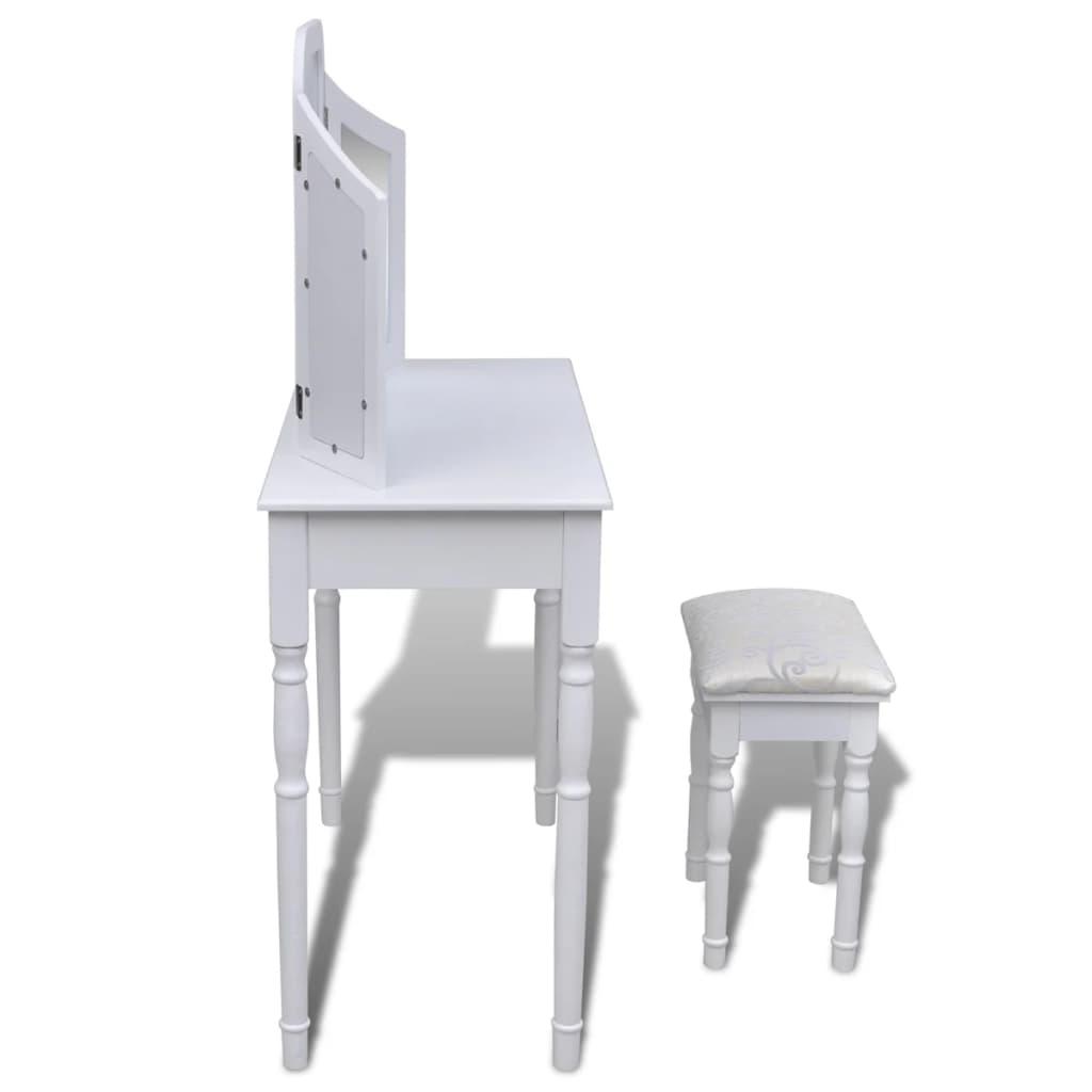 sminkbord alexandra vit inklusive pall. Black Bedroom Furniture Sets. Home Design Ideas
