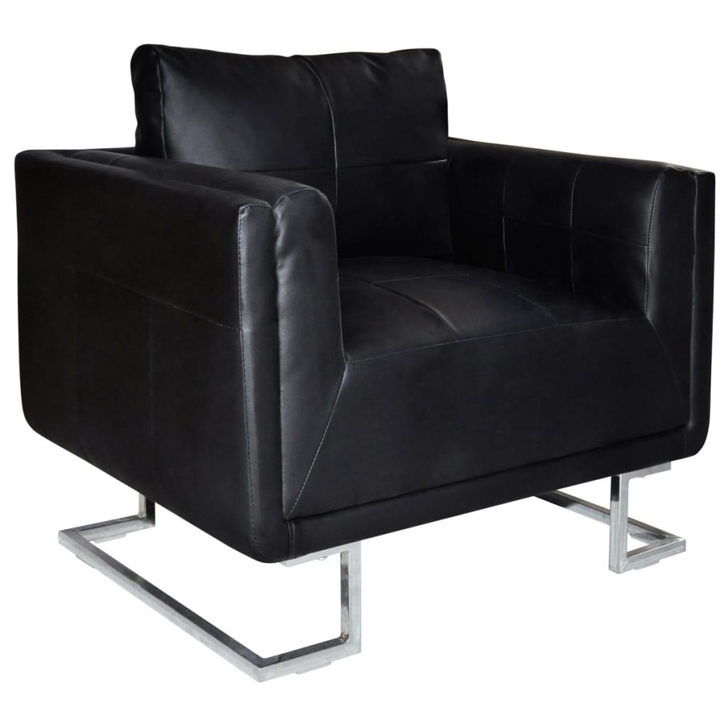 Sill n elegante en forma de cubo negro con patas cromadas - Fauteuil design scandinave pas cher ...