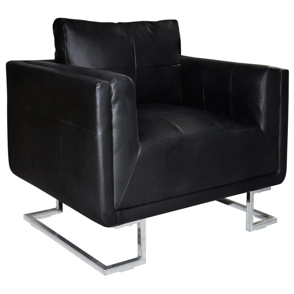 vidaXL Jó Minőségű Luxus Fekete Bőr Kocka Fotel Krómozott Lábakkal