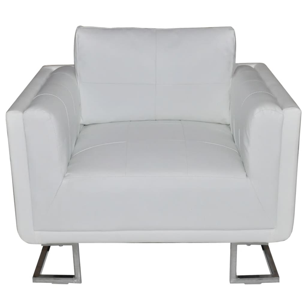 la boutique en ligne luxueux fauteuil cube en cuir blanc. Black Bedroom Furniture Sets. Home Design Ideas