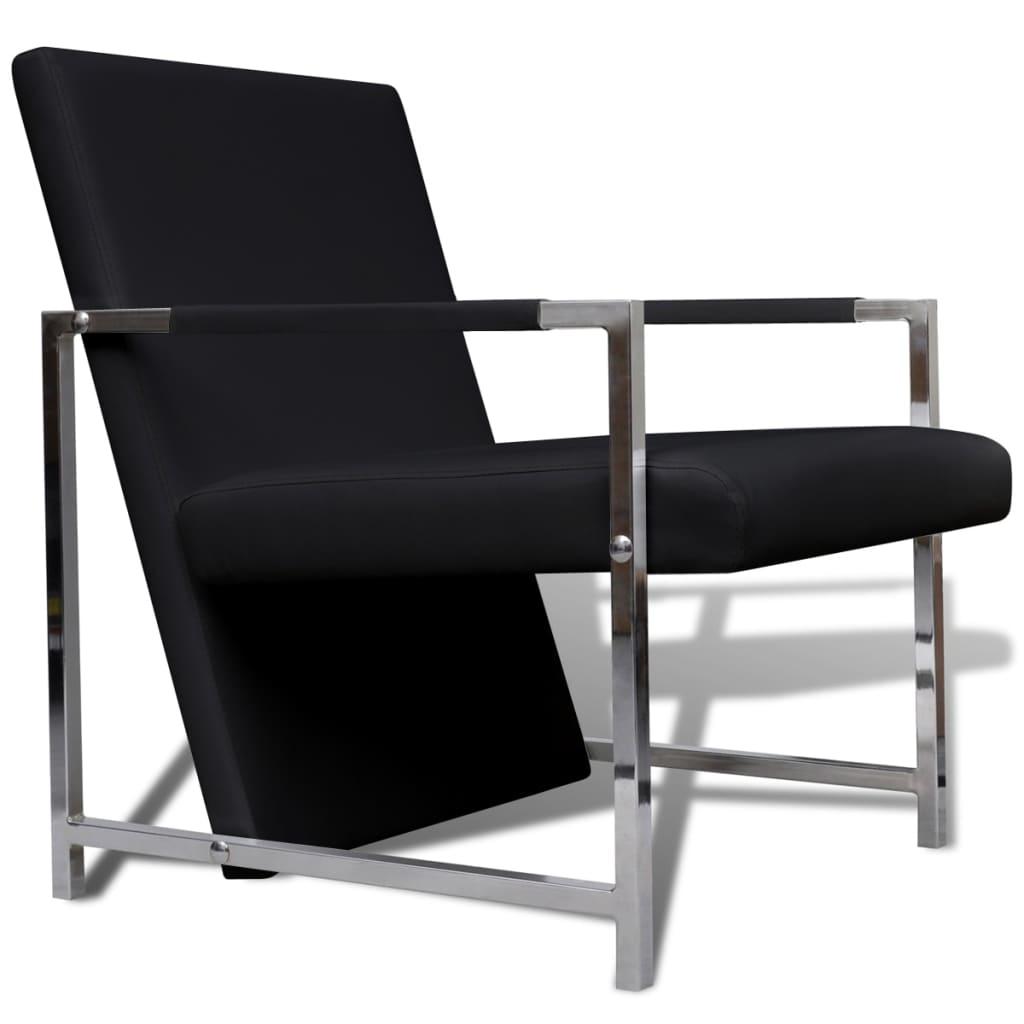 sessel relaxsessel schwarz mit chromf en hohe qualit t. Black Bedroom Furniture Sets. Home Design Ideas
