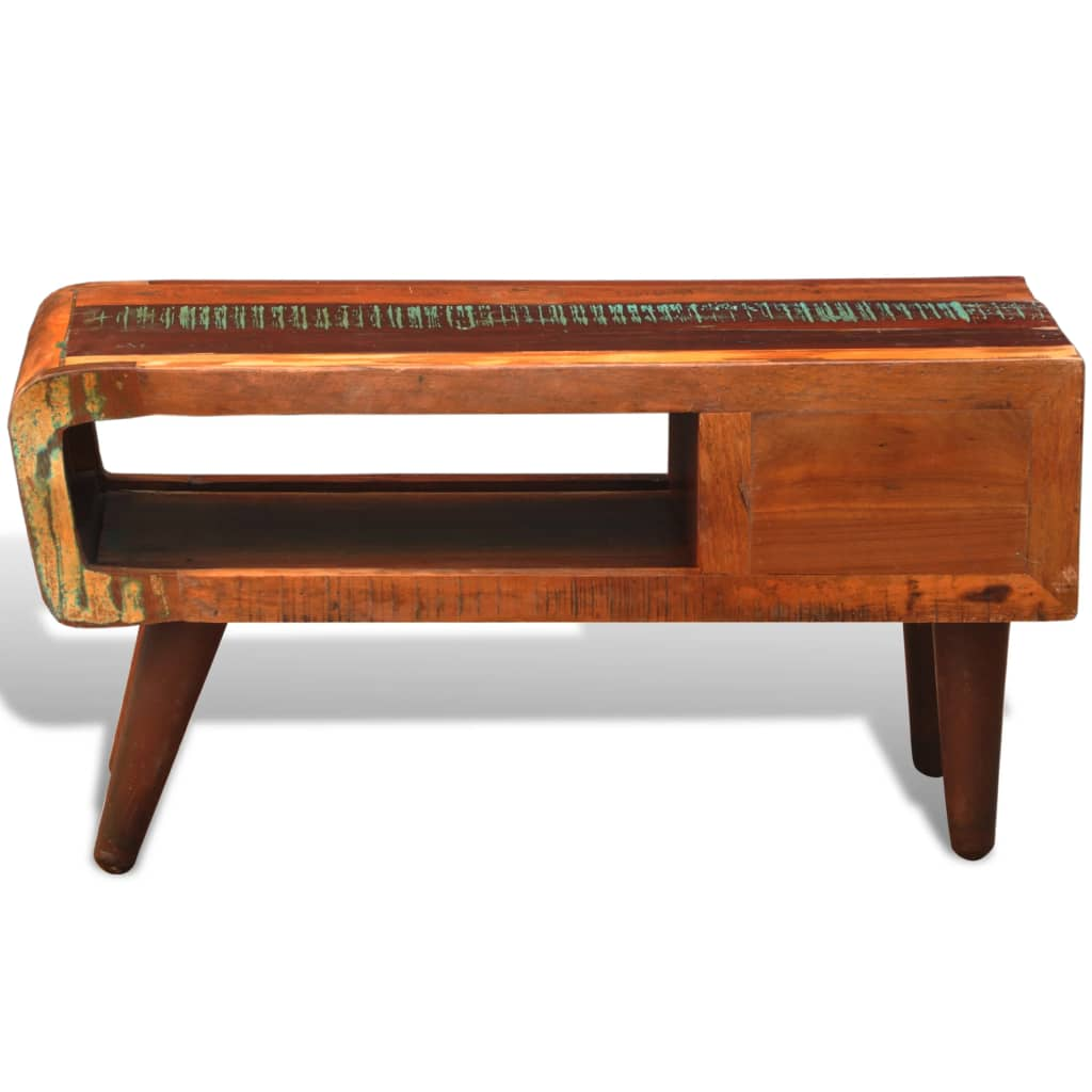 Antique Style Reclaimed Wood Coffee Table Curved Edge