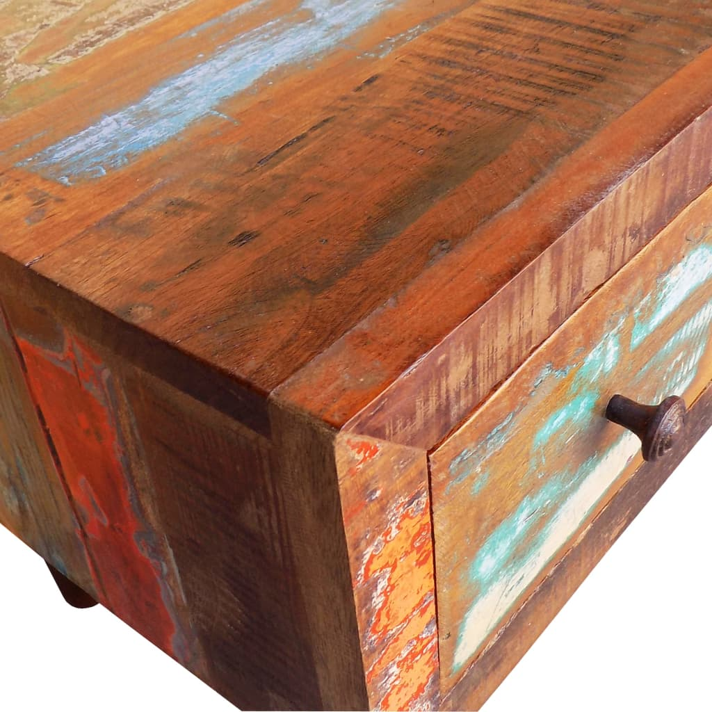 Solid Wood Curved Coffee Table: Antique-style Reclaimed Wood Coffee Table Curved Edge