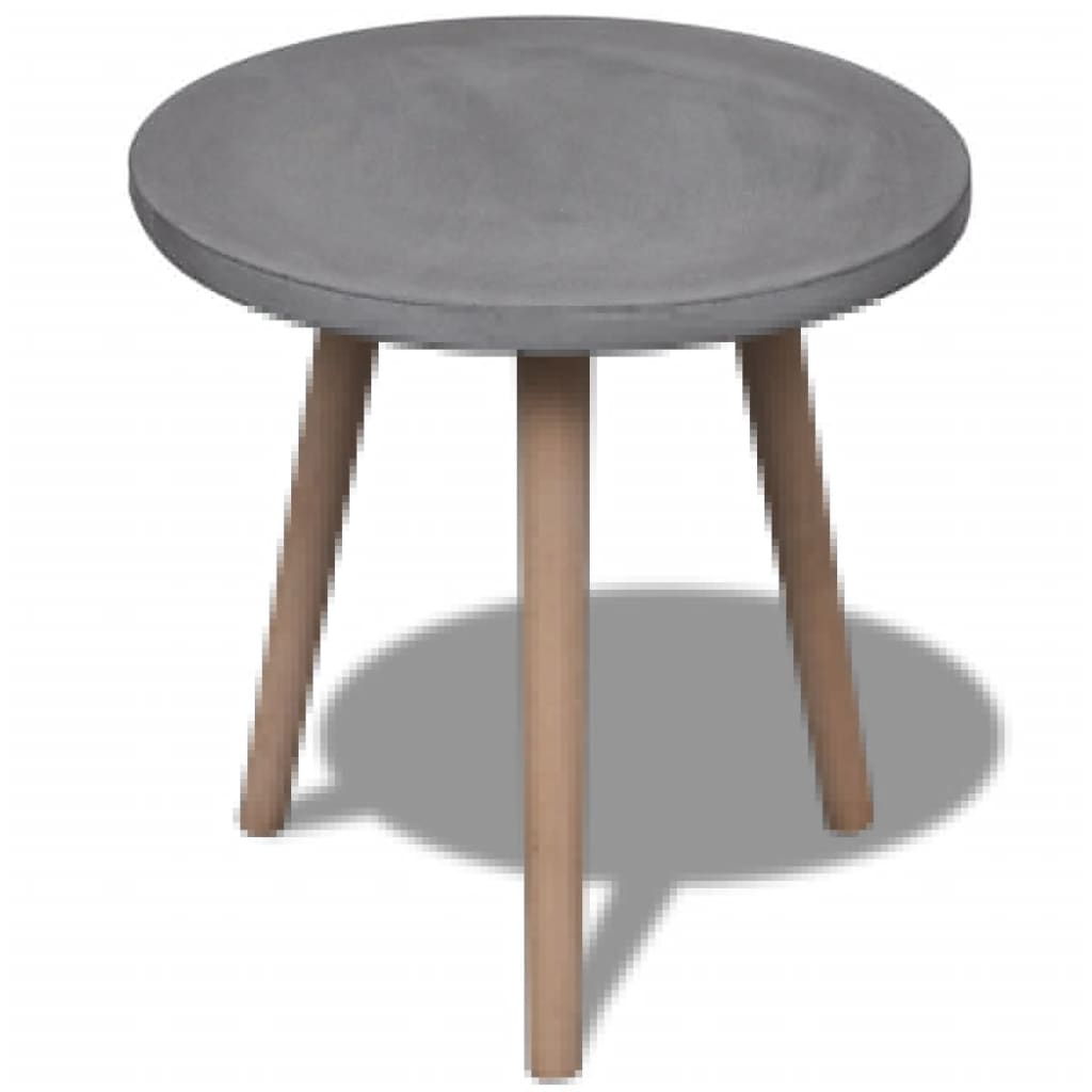 small round table with concrete top and oak