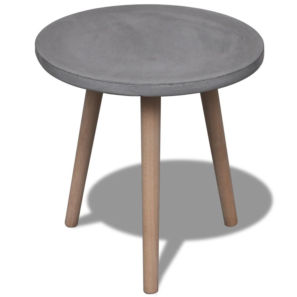 vidaXLcouk Small Round Table with Concrete Top and Oak  : image from www.vidaxl.co.uk size 1024 x 1024 png 449kB